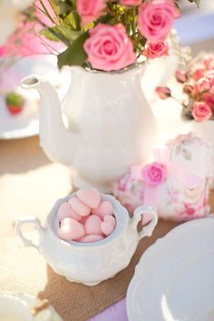 Teapot flower vase at a  Valentine's Day tea party! See more party planning ideas at CatchMyParty.com!