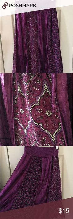 Purple velour and chiffon design maxi skirt Shimmery and flowy, pretty purple with gold pinstripe accent in the chiffon fabric. Speechless Bottoms Skirts