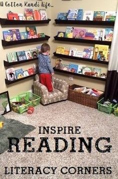 Literacy Corners that Inspire Reading, Kid's Bookshelf Ideas. Rain Gutter Bookshelves. Reading corners. Gutter Bookshelf. Reading Corner. Toddler Bedrooms. Toddler Bedroom Ideas. - A Cotton Kandi Life