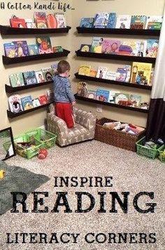 Literacy Corners that Inspire Reading, Kid's Bookshelf Ideas. Rain Gutter Bookshelves. Reading corners. Gutter Bookshelf. Reading Corner. Toddler Bedrooms. Toddler Bedroom Ideas. - A Cotton Kandi Life