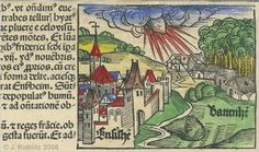 Hand-colored woodcut showing the fall of the Ensisheim meteorite.