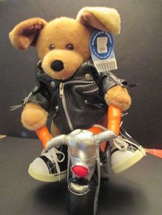 Harley Davidson Motorcycle Build a Bear Jacket Faux Leather Coat Dog Shoes #BuildABear #Toy