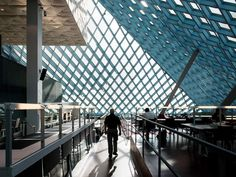 The Seattle Central Library -designed by Rem Koolhaas and Joshua Prince-Ramus, members of the Dutch Office of Metropolitan Architecture (OMA)