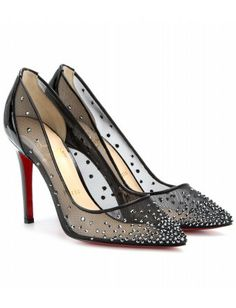 """""""Pewter strass crystals and glossy patent trims give Christian Louboutin's elegant pointed pumps rebellious glamour. Wear them with masculine tailoring for meetings, and with an LBD after hours."""""""