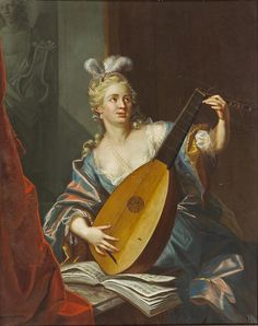 A lady playing a lute (1752). Emmanuel Jakob Handmann (Swiss, 1718-1781). Oil on canvas laid down.  In Paris Handmann worked at the studio of Jean Restout II who influenced his work. In 1742 he traveledthrough France finding employment in a portrait studio partnership with the painter Hörling. In the partnership, Handmann was mainly responsible for painting the heads of the sitters.