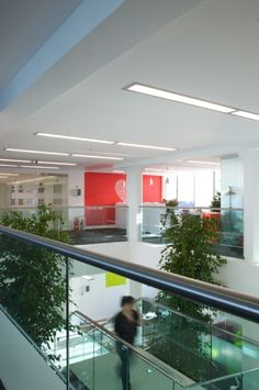 Stairwell. Staircase at British Heart Foundation. Offices designed by Interaction.