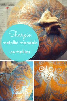 No carve, metallic Sharpie mandala pumpkins