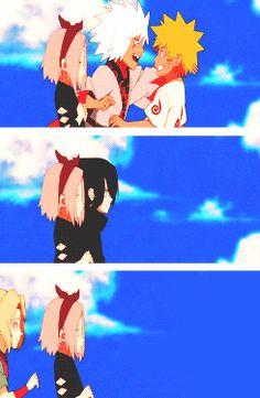 Sakura watching Naruto and Sasuke with their masters Jiraiya and Orochimaru, then her's show up; Tsunade