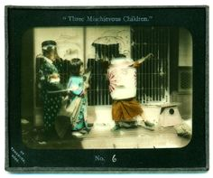 Three mischievous children, №6, ca. 1909 by Eliza R. Scidmore... or playing Chōchinobake