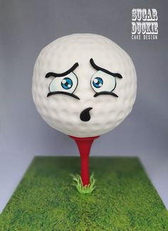 Anxious Golf Ball - cake by Sugar Duckie (Maria McDonald) Golf Themed Cakes, Golf Birthday Cakes, Boy Birthday, Birthday Ideas, Golf Ball Cake, Golf Cookies, Gravity Cake, Sport Cakes, Golf Party