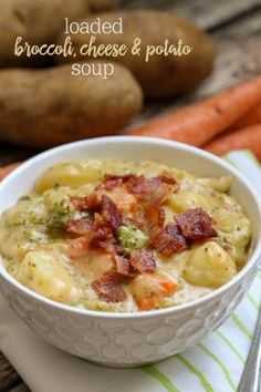 Loaded Broccoli Cheese and Potato Soup - so full of flavor and so many delicious ingredients. This soup will keep you warm and full any time of year! { lilluna.com }