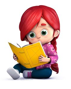 Girl reading a book sitting on the floor Kids reading books Girl cartoon characters Kids cartoon characters