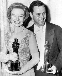 "Happy Oscar winners Jo Van Fleet (""East of Eden"") and Jack Lemmon (""Mr. Roberts"")"