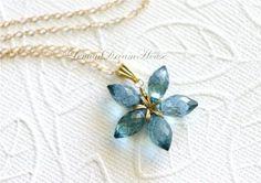 Gemstone Flower Necklace Mystic London Blue by LemonDreamHouse, $43.00