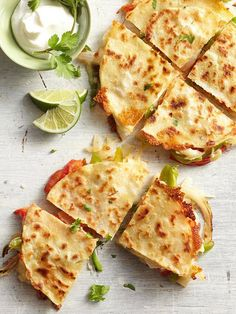 Fajita-Style Quesadillas / BHG | meals on a budget! stuff 2 corn tortillas with your choice of fajita filling spray non stick cooking spray onto flat griddle. Cook at med heat and until golden and crunchy on both sides. Serve with sour cream.