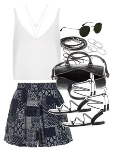 """Outfit with shorts for summer"" by ferned ❤ liked on Polyvore featuring Banana Republic, Topshop, Yves Saint Laurent, Anine Bing, Apt. 9, Ray-Ban and BCBGeneration"