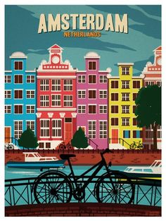 Vintage Travel Image of Vintage Amsterdam Print - Browse all products in the Travel Posters category from IdeaStorm Studio Store. Vintage Travel Posters, Vintage Postcards, Travel Wall, Travel Nursery, Amsterdam Netherlands, Hotel Amsterdam, Amsterdam Art, Poster Prints, 3d Printing