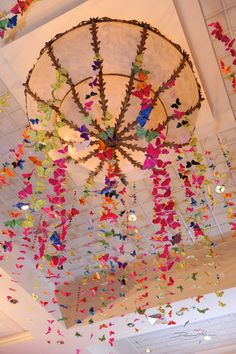Ceiling décor at a 70's Style Bat Mitzvah #batmitzvah #70s