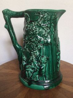 Offered for your private collection is this stunning antique majolica pitcher. Made by the Sarreguemines