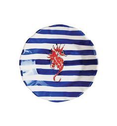 Maremisto Seahorse Stripe Salad Plate Set of 4 by Vietri