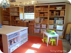 Love this craft room (It's in a garage!)