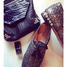 KIMDER HANDBAGS. Esther Bag, MIUMIU Glitter Oxfords, Chanel Black Satin nail polish. Chanel Black, Black Satin, Oxfords, Miu Miu, Slippers, Nail Polish, Glitter, Flats, Handbags