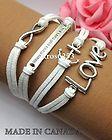Womens Bracelet Infinity Love Anchor WTAW White Velvet Antique Silver K850sw