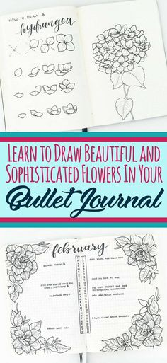 Learn to draw beautiful and sophisticated flower doodles in your bullet journal! These bullet journal doodles are the perfect decoration for any layout. Beautify your bujo with ease by using these epic flower tutorials. Easy Flower Drawings, Flower Drawing Tutorials, Easy Drawings, Drawing Flowers, Drawing Ideas, Sketch Drawing, Circle Drawing, Sketch Ideas, Bullet Journal Spreads