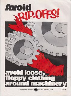 Vintage Workplace Safety Poster 1960s National Safety Council - Avoid Rip-Offs