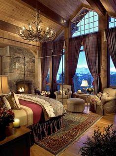 Les rideaux tartan du chalet soulignent l'ambiance chaleureuse et feutrée, tout en donnant une touche traditionnelle qui va très bien avec le bois vieillit