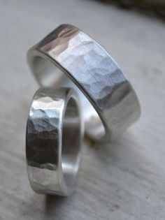 Hammered Silver Wedding Bands Matte Finish By Maggidesigns
