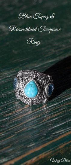 Beautiful blue Topaz & reconstitued #turquoise #ring #WayBliss
