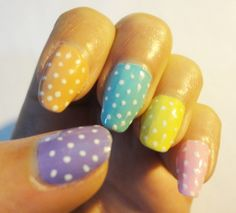 Pastels with white polka dots