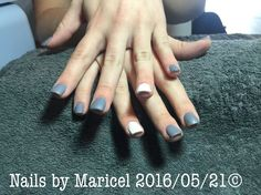 Nele acrylic gel overlay with Arctic freeze and clean slate gelish in matte