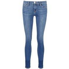 Frame Denim 'Le Skinny de Jeanne' whiskered jeans ($270) ❤ liked on Polyvore featuring jeans, blue, stretchy skinny jeans, stretch blue jeans, skinny fit jeans, lined jeans and super stretch jeans