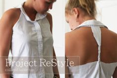6 petals blog // a mix of vintage, DIY, design, style: ::Project ReStyle // collared halter top::