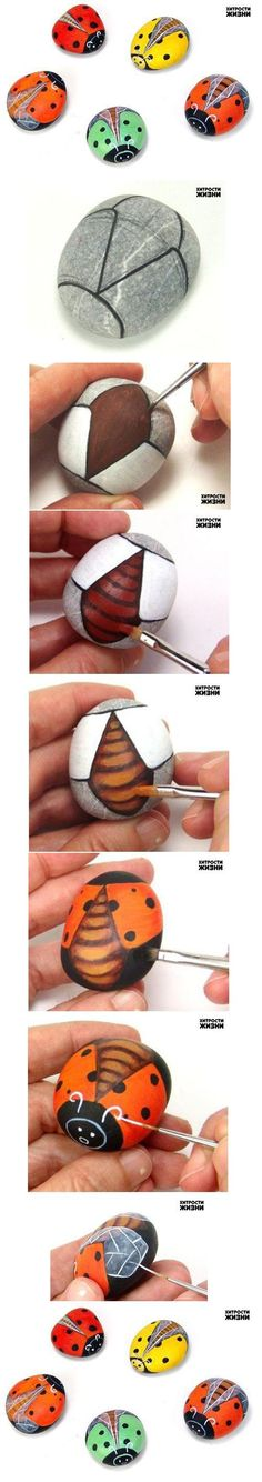 DIY Painted Stone Ladybug DIY -- I love the little extras this artist adds to the wings!