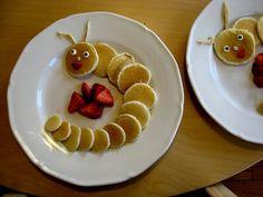 Caterpillar pancakes...how cute! Great Birthday idea.