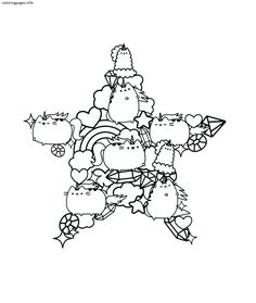 Pusheen Coloring Pages | Cartoon Coloring Pages | Mandalas, Colores ...