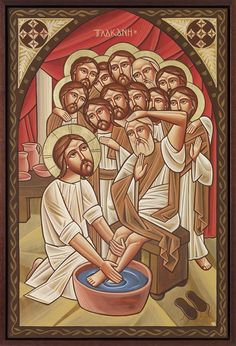 Jesus washing St Peter's feet with the Apostles
