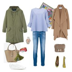 """""""Outfit mit Parka"""" by coco-kelly on Polyvore featuring Mode, Closed, Philippe Model, Essentiel, MANGO MAN, Hermès, Roberto Cavalli, Harris Wharf London und Rolex"""