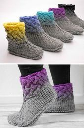 Knitting instructions for great wool slippers with Ombre effect / Knitting tutorial ... - sybille fu