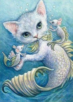 """Merkitten & Mermice"" ACEO X – miniature painting Watercolor & acrylic paint Strathmore illustration board August 2009 SOLD I was . Magical Creatures, Sea Creatures, Mermaid Cat, Illustration Art, Illustrations, Mermaids And Mermen, Merfolk, Whimsical Art, I Love Cats"
