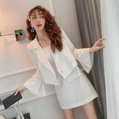 SEOULSUGAR Set Đầm + Khoác Tay Loe - SeoulSugar Bell Sleeves, Bell Sleeve Top, Dress Up, White Dress, Blazer, Suits, Outfit, People, Tops