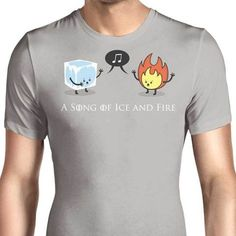 A little cartoon depicting the Song of Fire and Ice from Game of Thines on a men's T-Shirt. $21.99