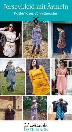 ec408e5686a221 Jerseykleid mit Ärmeln 4.5/5 (2). Schnittmuster kostenlos Kleid Jersey Damen  ...