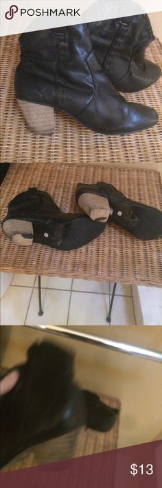 Black Cowgirl Boots 6.5 by Rebel Vintage Look Black adorable cowgirl boots size 6.5. Heels are worn as seen in pics.Make me an offer❤️ Shoes Heeled Boots