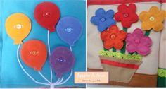Abotoar Balões ou Flores, eis a questão!  Monte seu próprio livro com lindas atividades interativas  Curta nossa página no facebook:  https://www.facebook.com/RetalhoeAmor Entre em contato através do e-mail: retalhoamor@yahoo.com.br