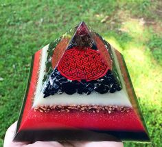 Orgone Energy Pyramid  FLOWER OF LIFE  Root Chakra  by 432oneness