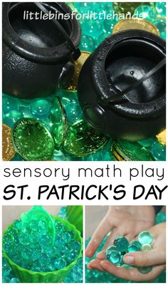 St Patricks Day sensory bin and St Patricks Day math activity counting coins for toddler, preschool, and kindergarten age kids. Easy St Patricks Day sensory play idea.